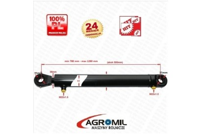 Cylinder hydrauliczny 63/36/500 L:780