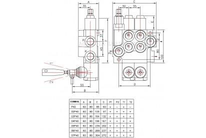 Rozdzielacz hydrauliczny 1 sekcyjny 40L