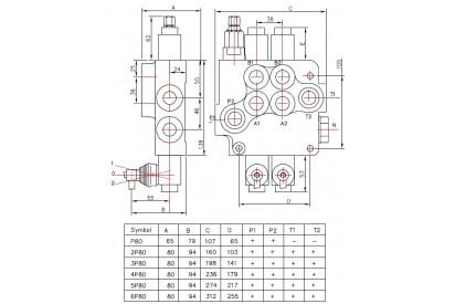 Rozdzielacz hydrauliczny 5 sekcyjny 80L