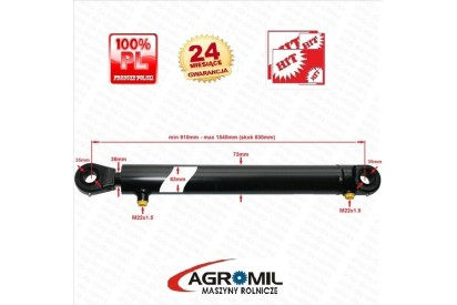 Cylinder hydrauliczny skok 630mm 2-str działania tur